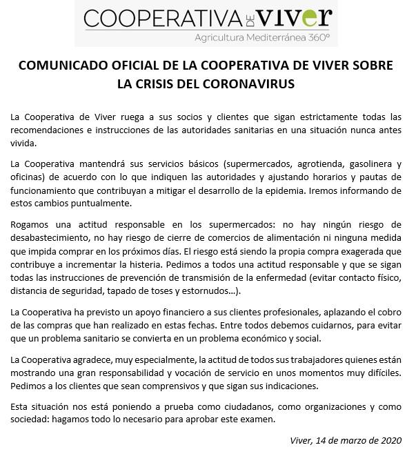 COMUNICADO OFICIAL SOBRE EL CORONAVIRUS 14/03/2020